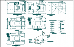 Sanitary installation plan of municipal building dwg file