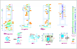 Sanitary installation section view with detail dwg file