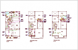 Sanitary installation view of residential area dwg file
