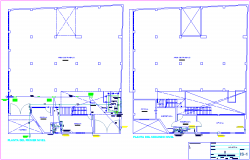 Sanitary installation view of textile manufacturing plant first and second floor plan dwg file