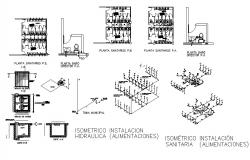 Sanitary installation with hydraulic system installation and isometric view details dwg file