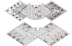 Sanitary installation with layout plan of admin office project dwg file