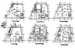 Sanitary layout plan of 2 storey house with detail dimension in dwg file