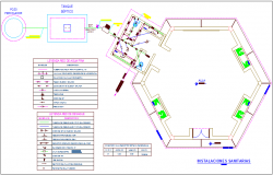 Sanitary plan with its legend  of education center dwg file