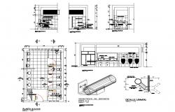 Sanitary section, plan and installation cad drawing details dwg file