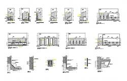 Sanitary section, plan, construction and installation details dwg file
