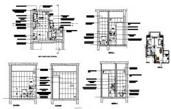 Sanitary section, plan and installation details of corporate office dwg file