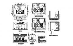 Sanitary services elevation, section, plan and installation details dwg file