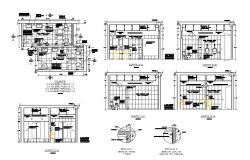 Sanitary services of office building section, installation and plumbing details dwg file