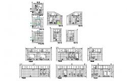 Sanitary services section, plan and doors and windows structure details dwg file