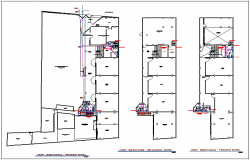 Sanitary view in floor plan of collage dwg file