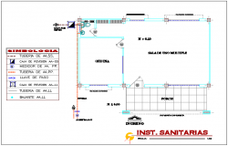 Sanitary view with its legend of communication office building dwg file