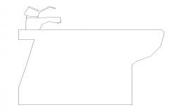 Sanitary wash-basin CAD block detail elevation 2d view layout file