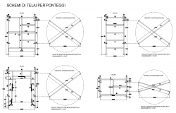 Scaffolding structure detail elevation and sectional layout file
