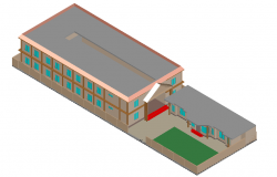 School 3d view design dwg file