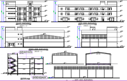 School Architecture Layout and Elevation dwg file