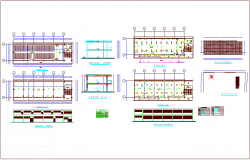 School architectural plan with sanitary and electrical view with its legend and elevation and section view dwg file