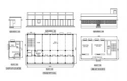 School building elevation, library, community hall and quarter details dwg file