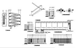 School building elevation, section, staircase, basement floor layout and auto-cad details dwg file