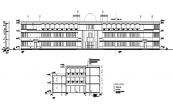 School building elevation 2d view layout autocad file
