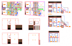 School building elevation section design dwg file