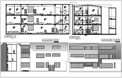 School building plan detail view dwg file