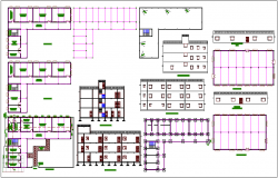 School building plan view with elevation and sectional view dwg file