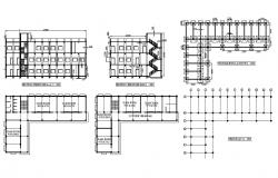 School building section, foundation plan, floor plan and grid plan details dwg file