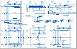 School classroom plan with architectural,foundation and electrical plan view dwg file