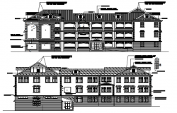 School design with elevation details in dwg file