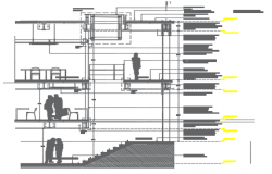 School facade section detail dwg file