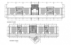 School first floor plan and second-floor plan detail dwg file
