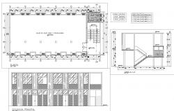 School plan, elevation and section detail dwg file