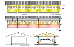 School plan with elevation plan detail dwg file.