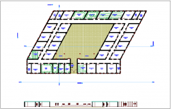 School plan with section view dwg file