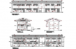 School project architectural elevation and section autocad file