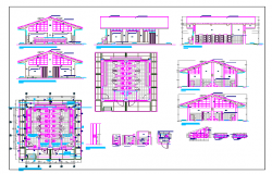 School sanitary installation with elevation and section dwg file