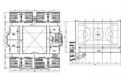 School structural layout plan details with sports ground dwg file