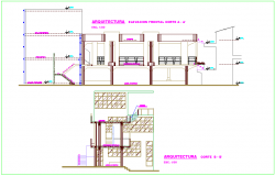 School with dining area view elevation and section view dwg file