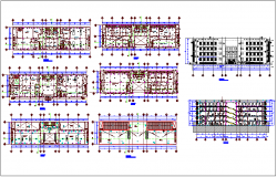 Scientific lab structural view with floor plan,elevation & section view dwg file
