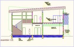 Scintillation view with architectural detail dwg file