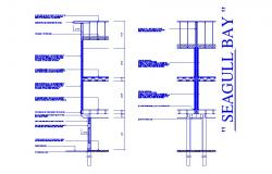 Seagull bay constructive section cad drawing details dwg file