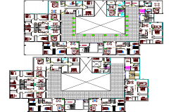 Second and third floor layout plan of multi-flooring hotel details dwg file