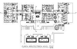 Second and third floor plan details of multi-level civil hospital dwg file