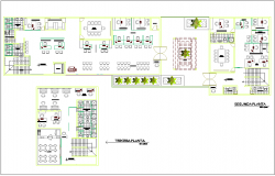 Second and third floor plan view for administration government building dwg file