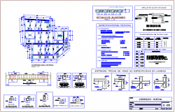 Second and third level structural view for commerce hostel dwg file