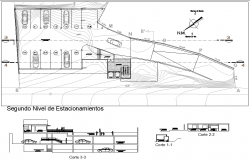 Second floor Salon social plan detail dwg file