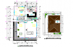 Second floor and roof plan house detail dwg file