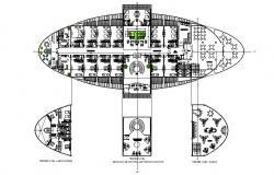 Second floor distribution plan details of luxuries hotel dwg file