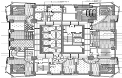 Second floor layout plan details of corporate office building dwg file